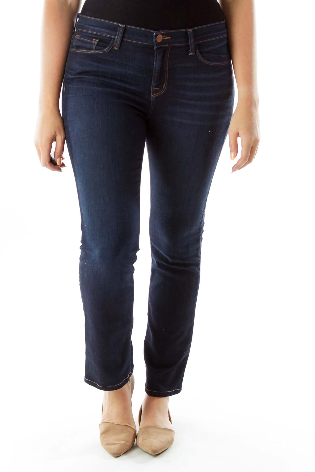 Navy Pocketed Zipper Fly Straight-Leg Jeans