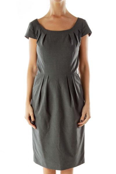 Gray Round Neck Pencil Work Dress