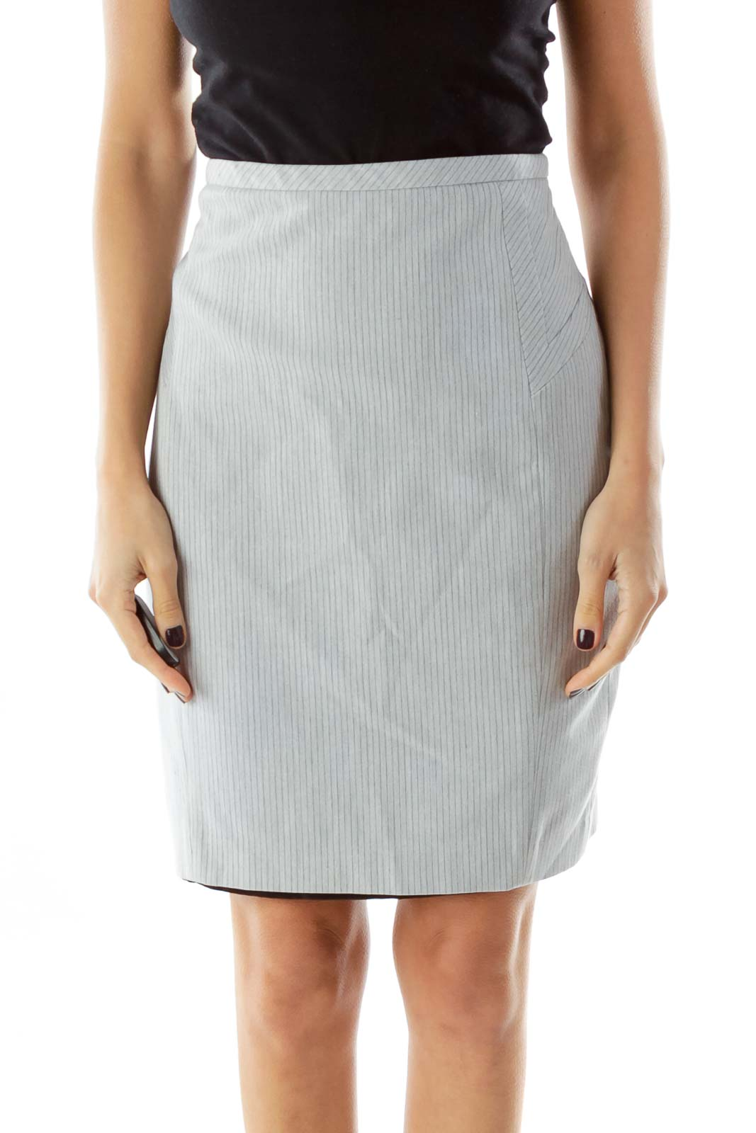Gray Striped Pencil Skirt