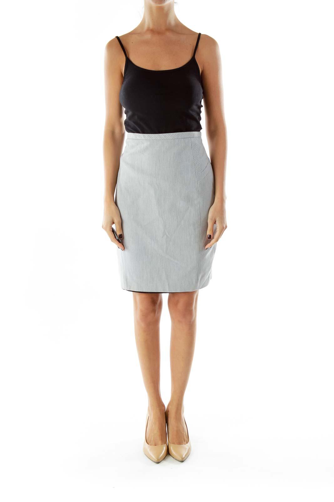 Gray Striped Pencil Skirt