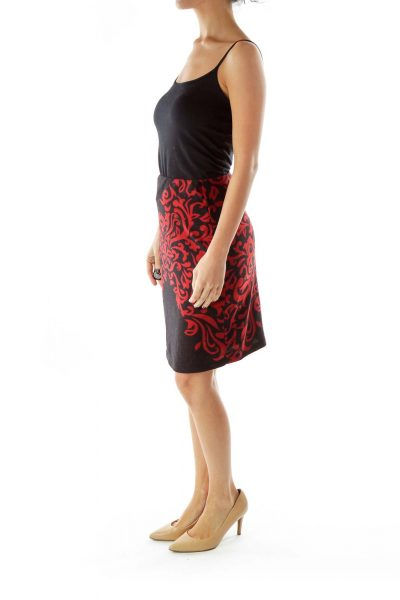 Black Red Pencil Skirt