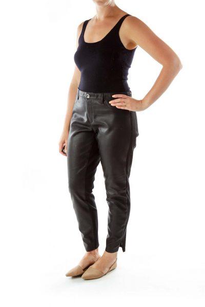 Skinny Black Zippered Leggings
