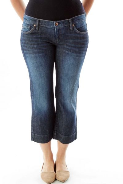 Navy Straight-Leg Cropped Jeans