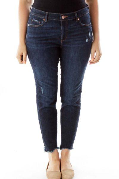 Navy Skinny Trimmed Jeans