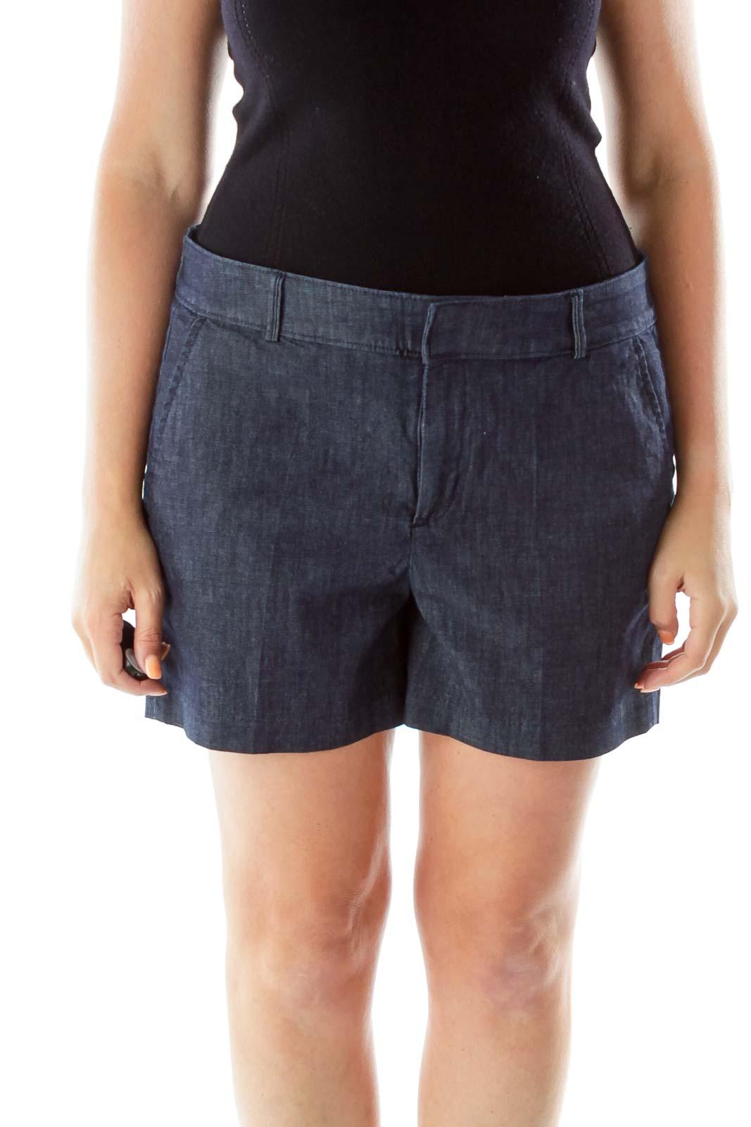 Navy Pocketed Denim Shorts