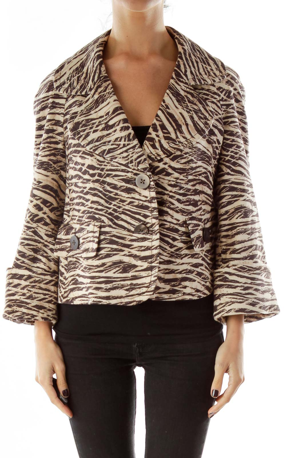 Brown Print Blazer