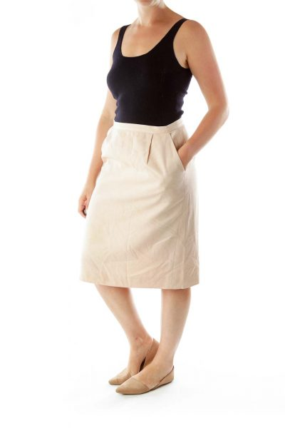 Pink Pocketed Pencil Skirt