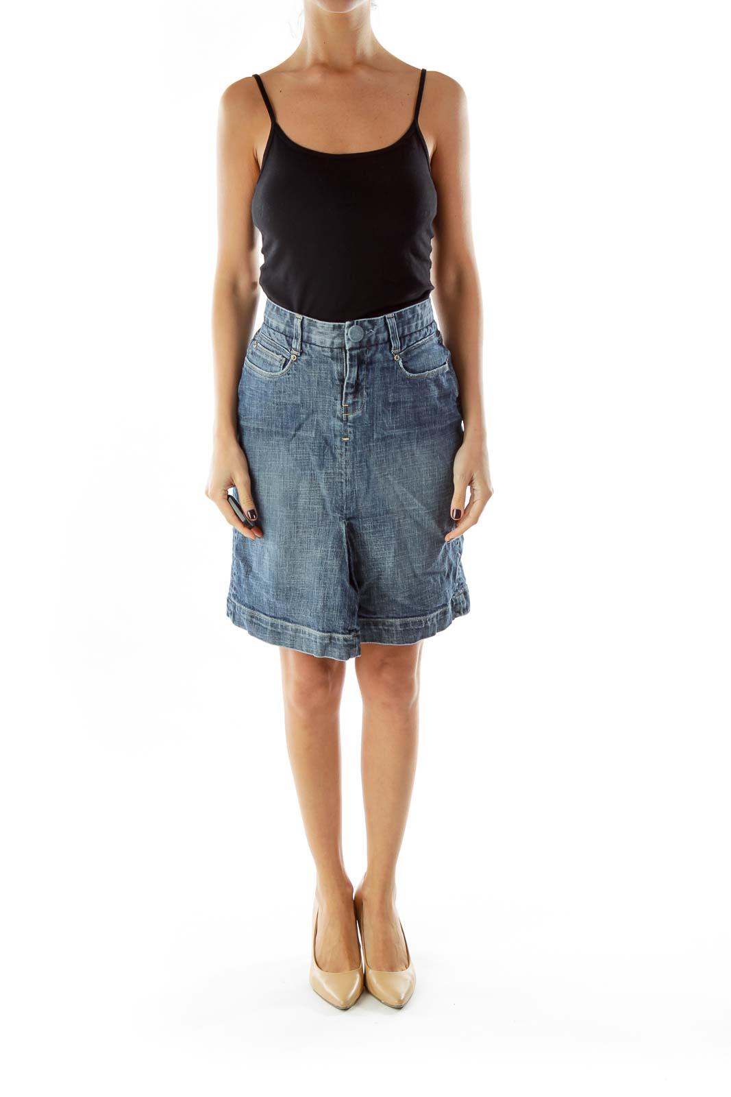 Blue Denim Pencil Skirt