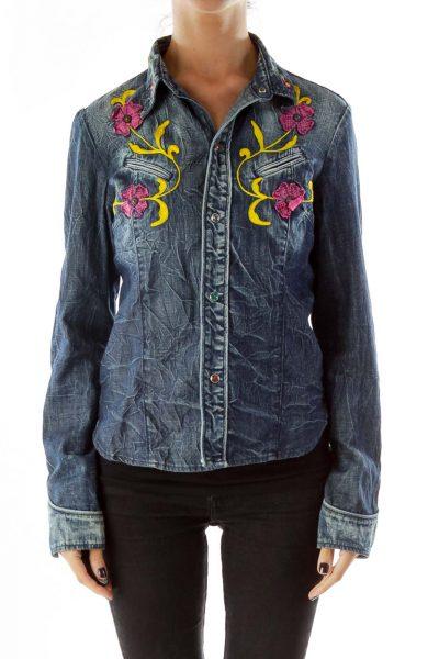 Navy Embroidered Denim Jacket