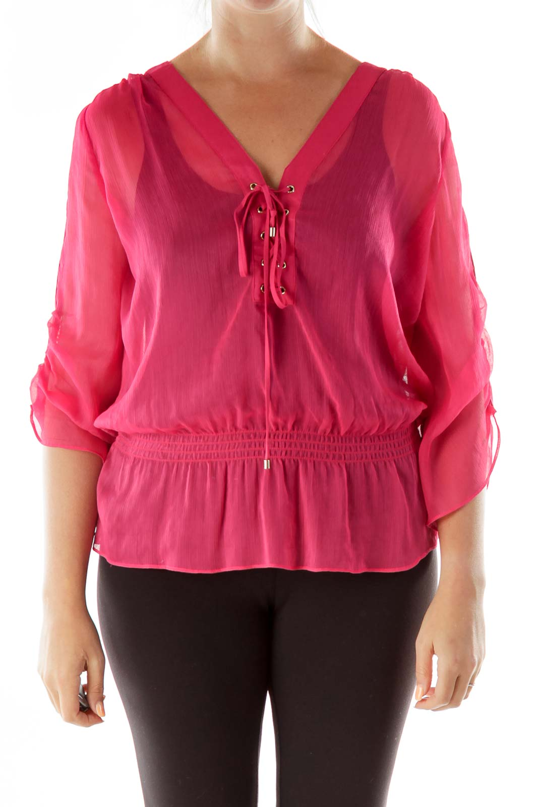 Pink Lace-up Blouse