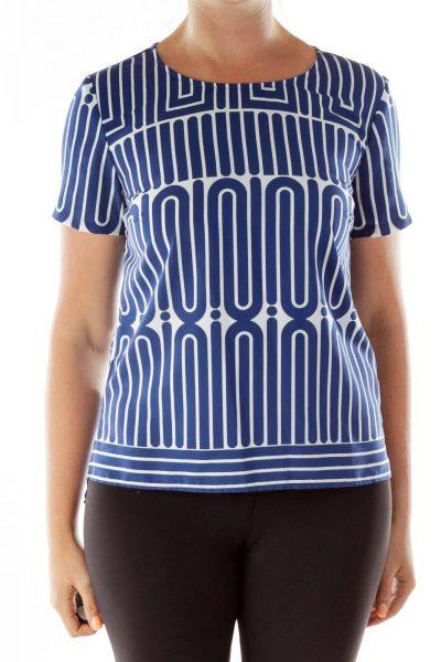 Navy White Geometric Print T-Shirt
