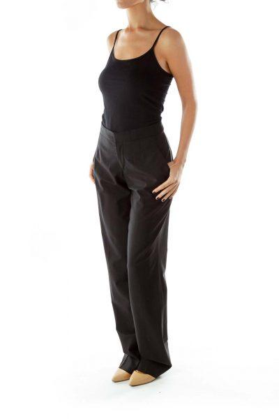 Black Pocketed Straight-Leg Pants