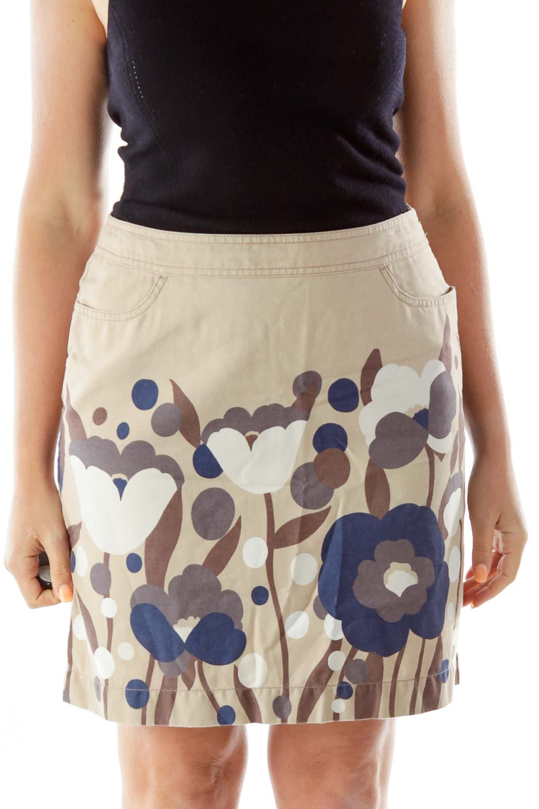 Beige Navy Brown Flower Pencil Skirt