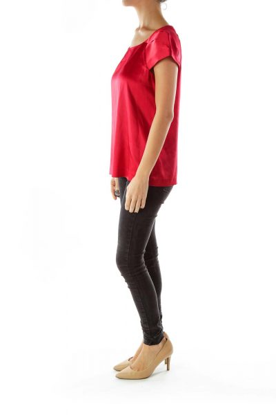 Red Short-Sleeve Silk Blouse