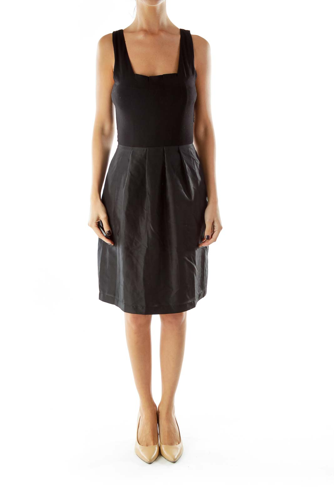 Black Silk Pleated Tank Dress