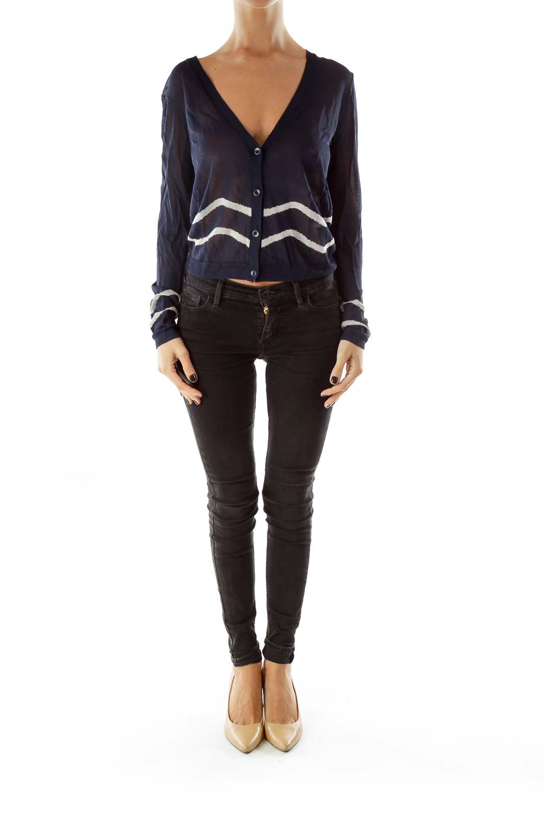 Navy White Striped See-Through Cardigan