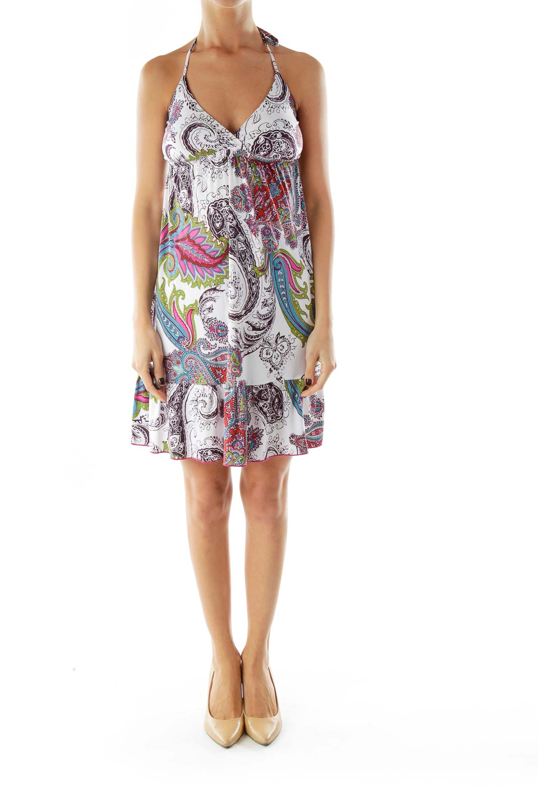Red White Brown Paisley Day Dress