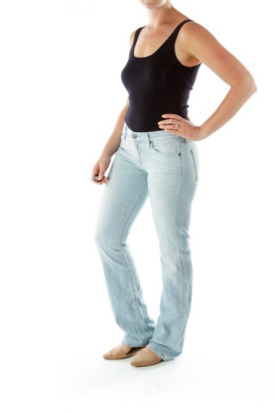 Blue Pocketed Zipper Fly Flared Jeans