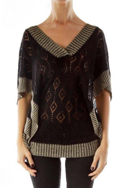 Black Gold Shimmer V-Neck Knit Top
