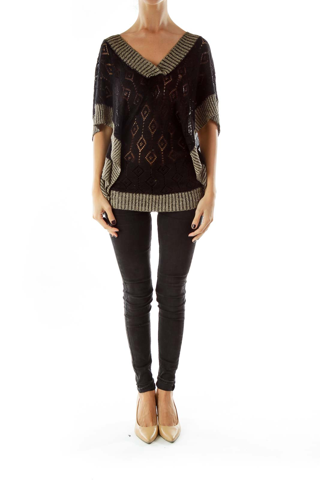 Black Gold Shimmer V-Neck Knit Top