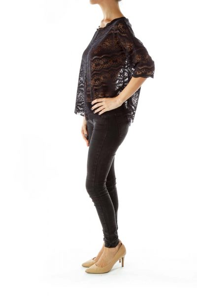 black Embroidered Loose See-Through T-Shirt