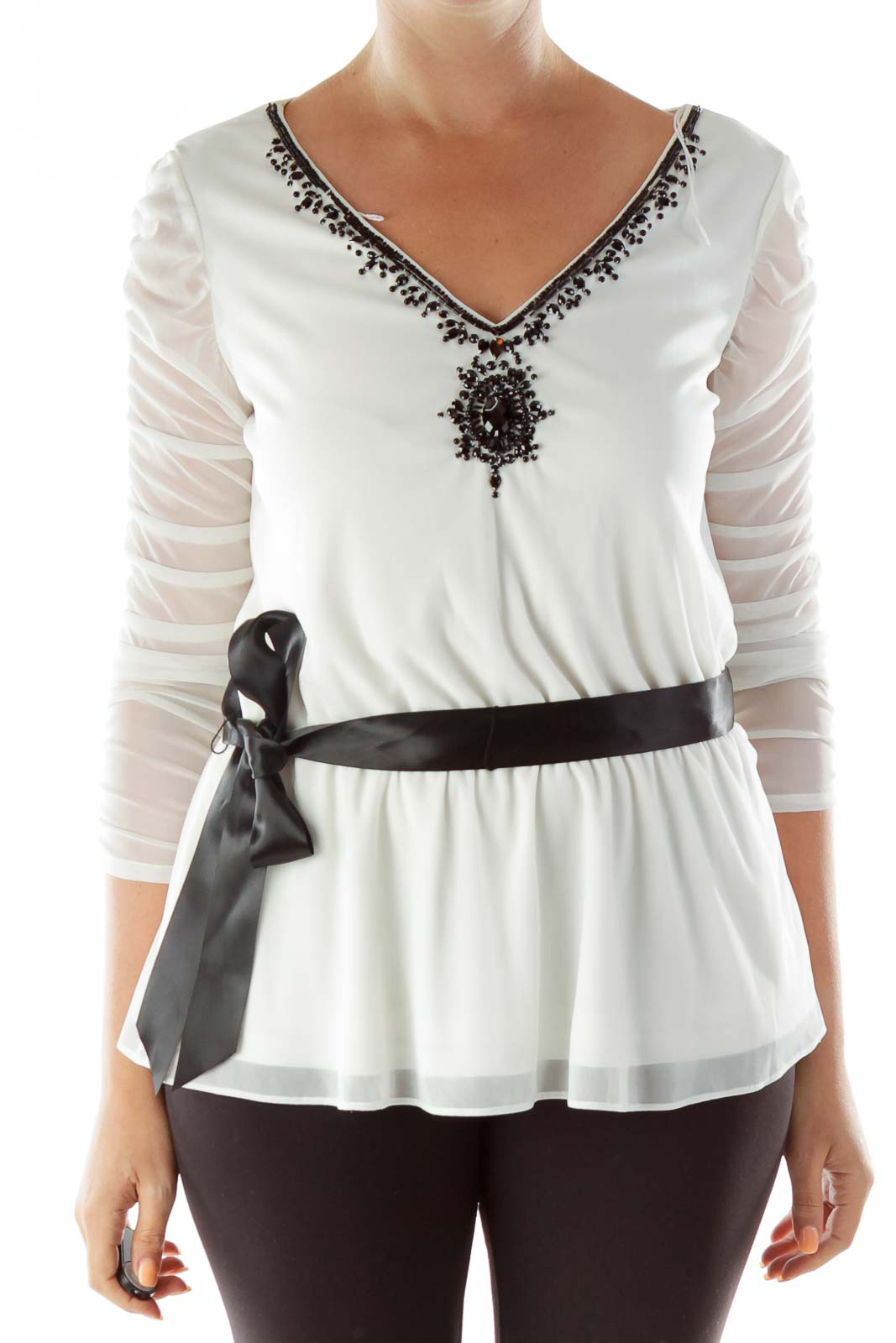 White Black Beaded Belted Sheer Tunic