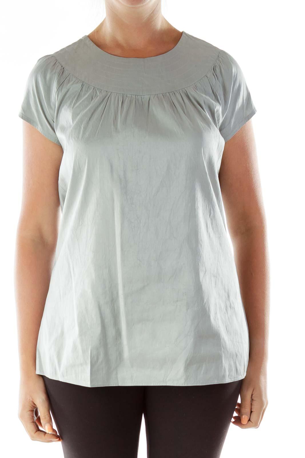 Silver Round-Neck Silk Blouse
