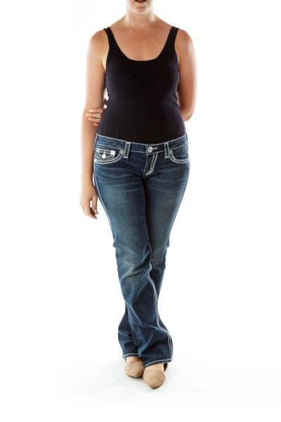 Navy Blue Stitch Detail Jeans