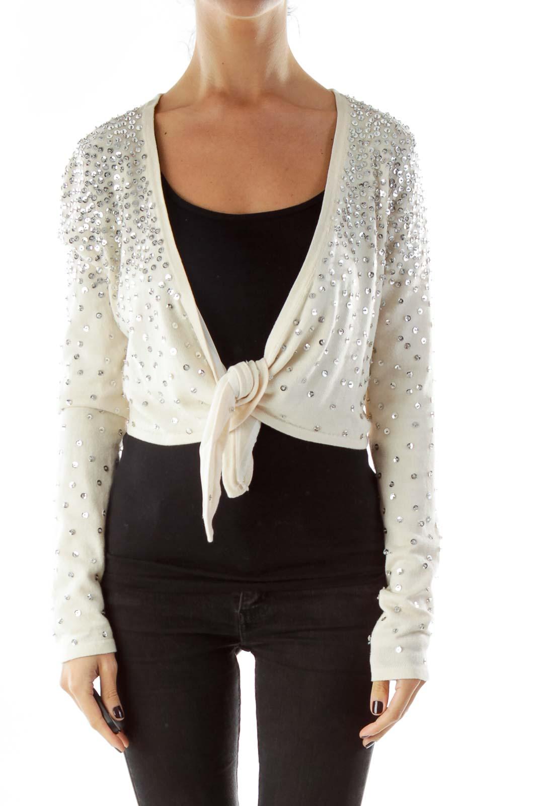 Cream Sequined Cropped Cardigan