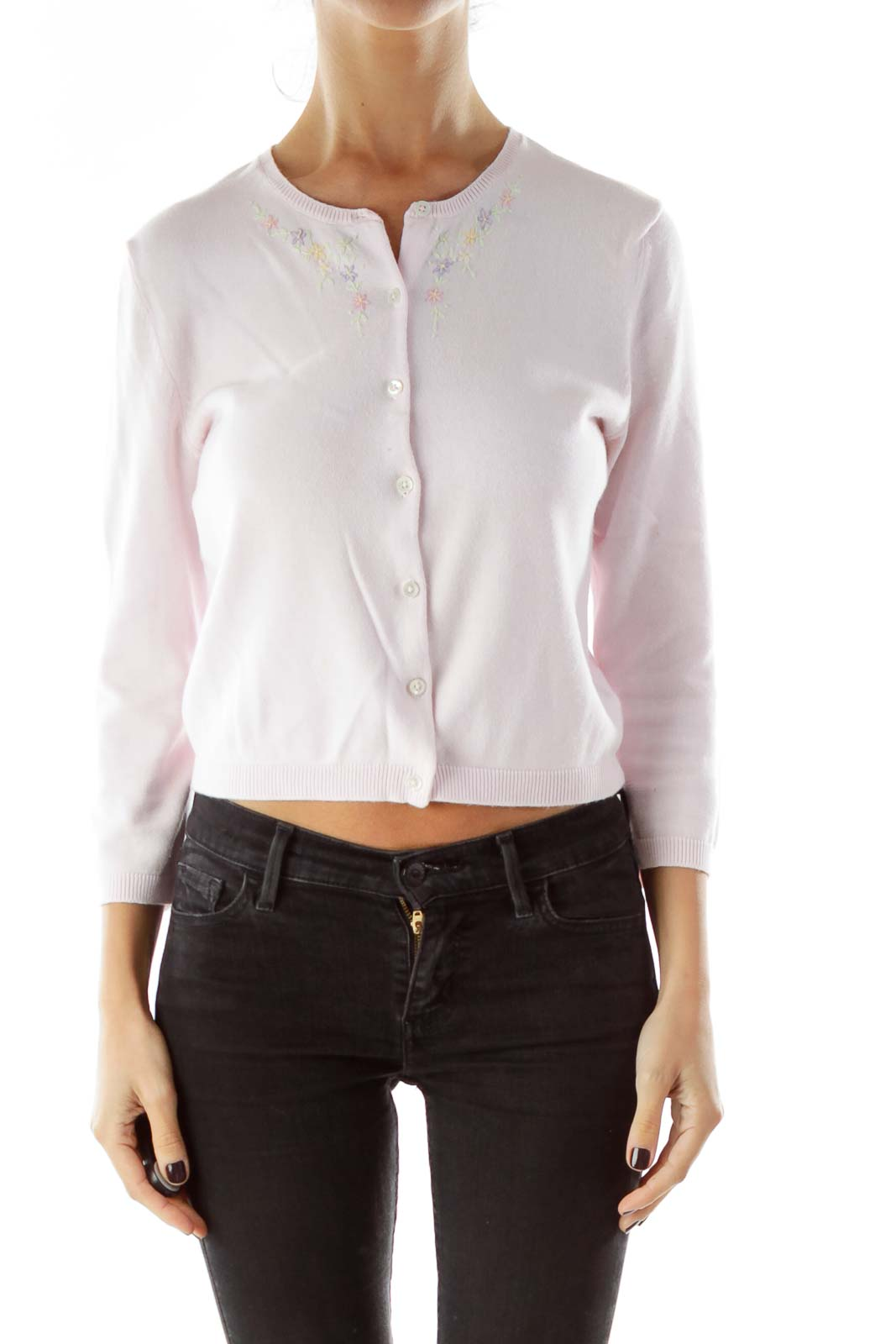 Pink Embroidered Cropped Cardigan