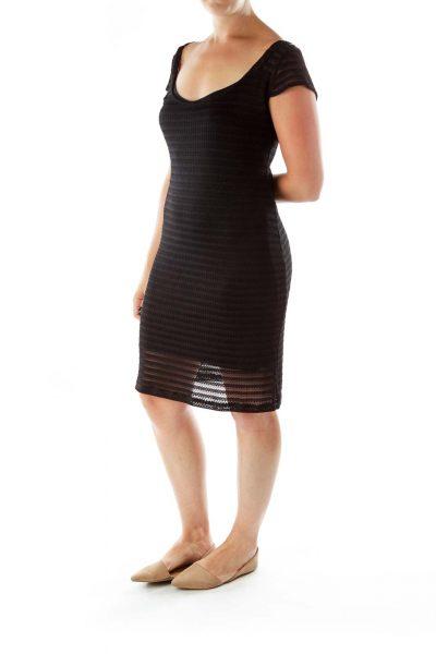Black See-Through Knit Beach Dress