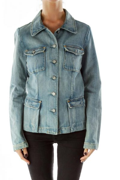 Blue Pocketed Buttoned Jacket