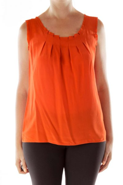 Orange Pleated Tank Top