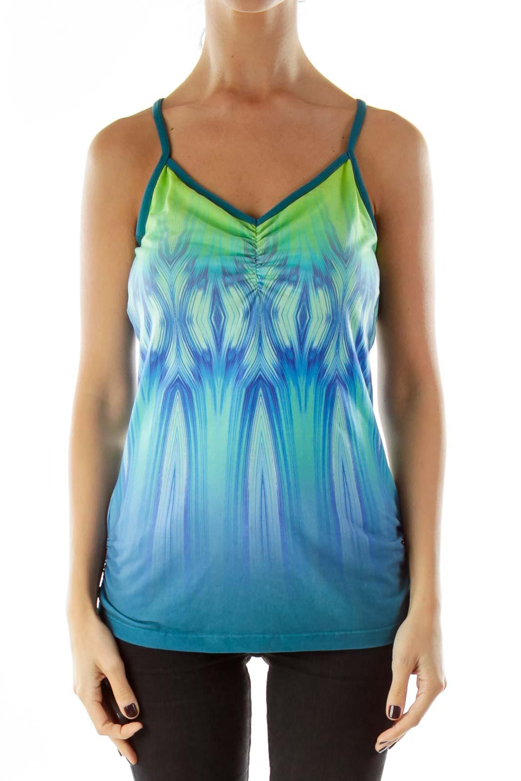 Green Blue Print Activewear Top
