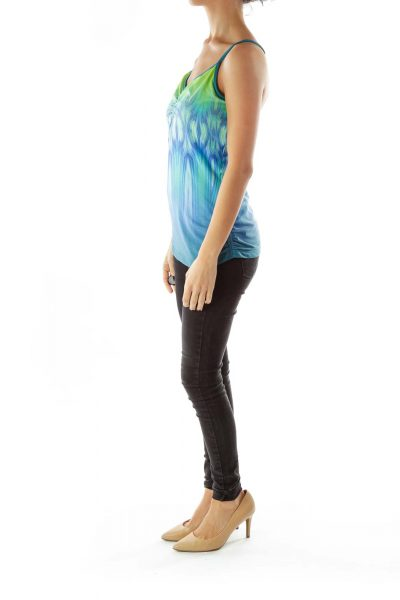 Green Blue Print Activewear Top