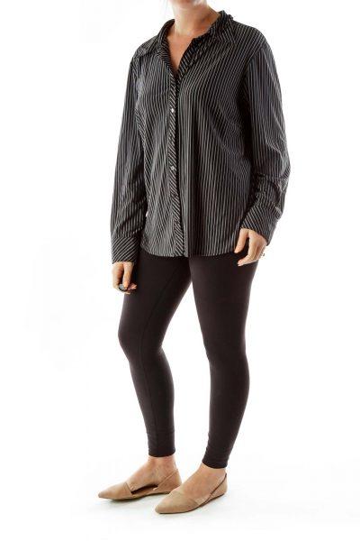 Black Gray Striped Shirt