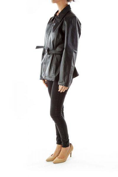 Black Belted Genuine Leather Jacket