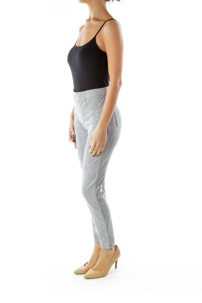 Gray Pocketed Print Jeggings