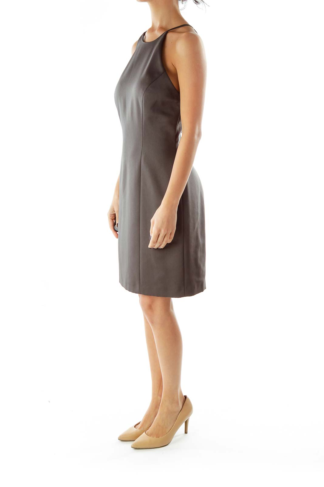 Gray A-Line Spaghetti Strap Cocktail Dress