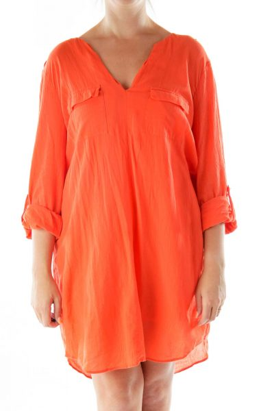 Orange Buttoned Collared Shirt Dress