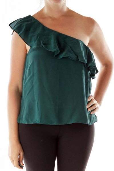 Green One-Shoulder Ruffled Blouse