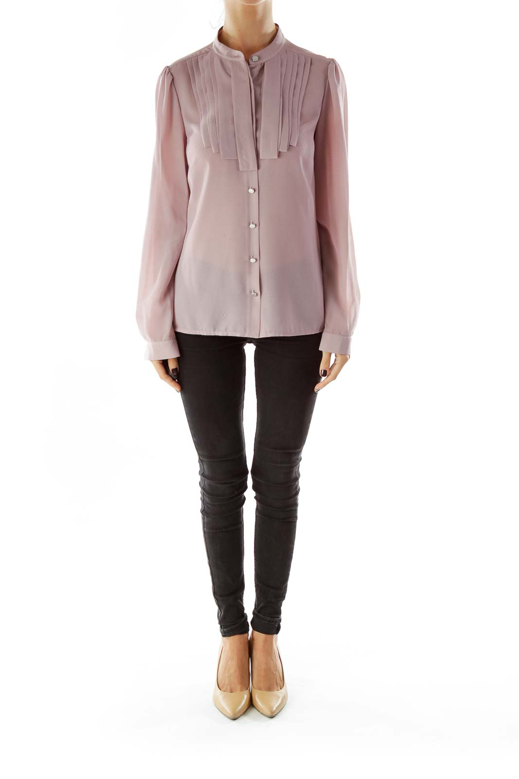 Purple Textured Buttoned Blouse