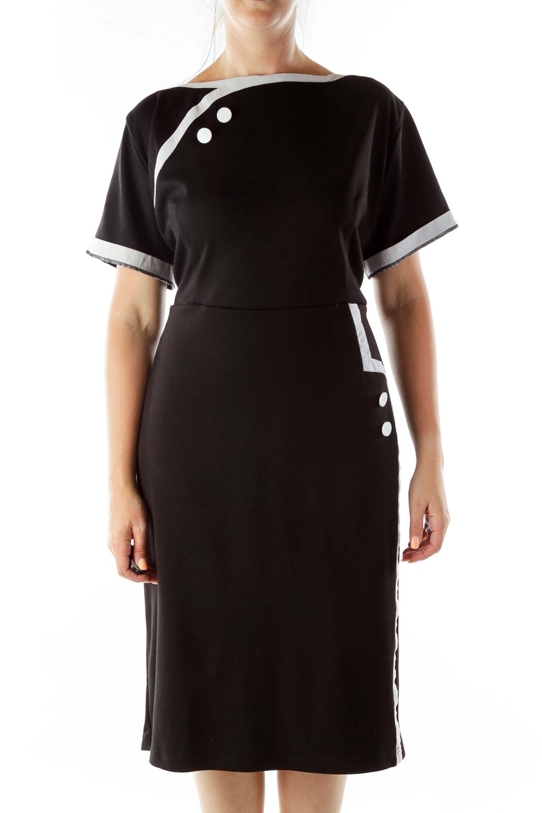 Black White Buttoned Vintage A-Line Dress