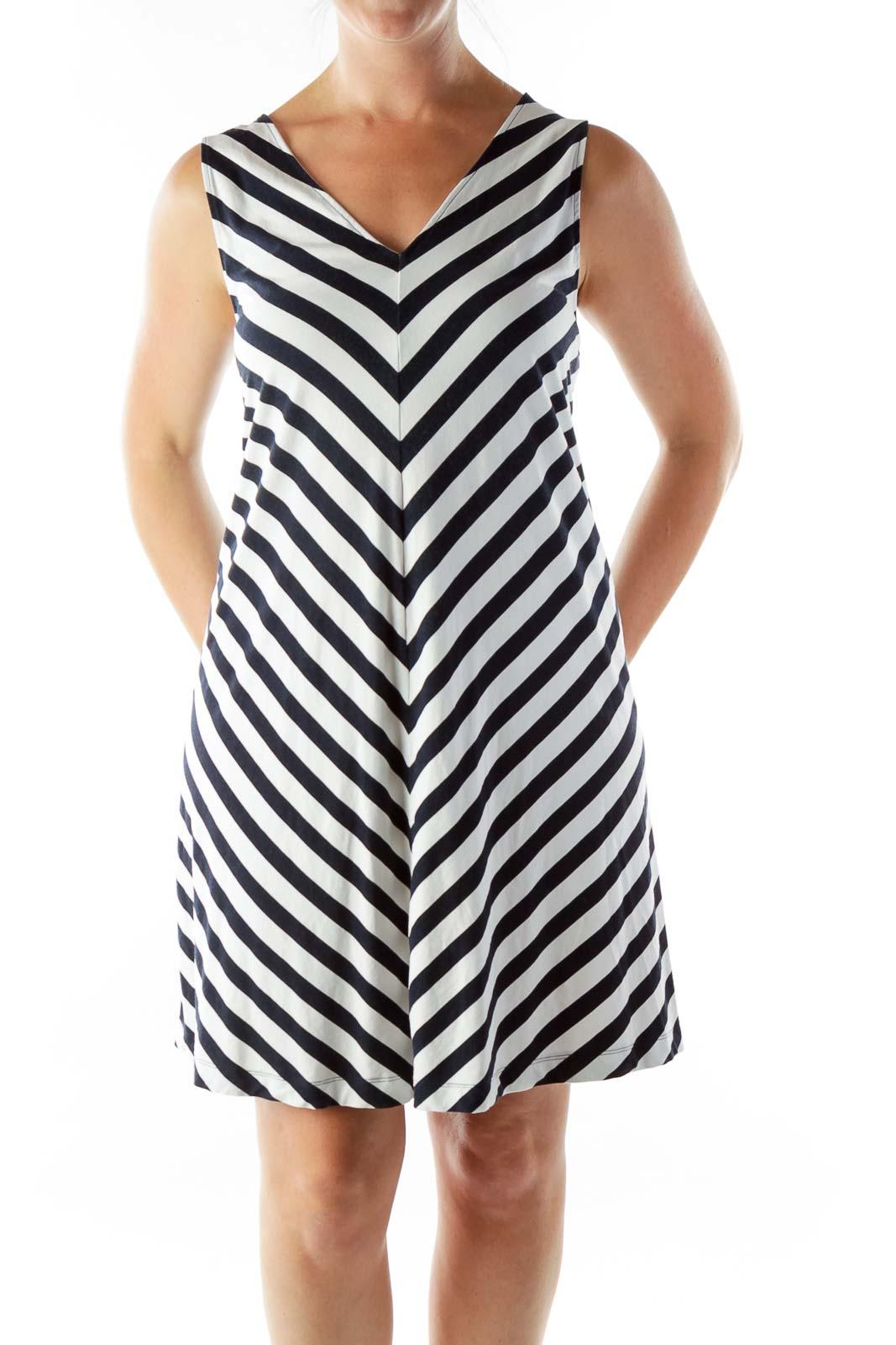 Black White Chevron Shift Dress