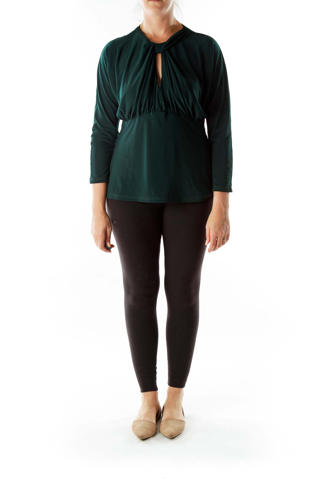 Dark Green Slitted Knot Scrunched Tunic