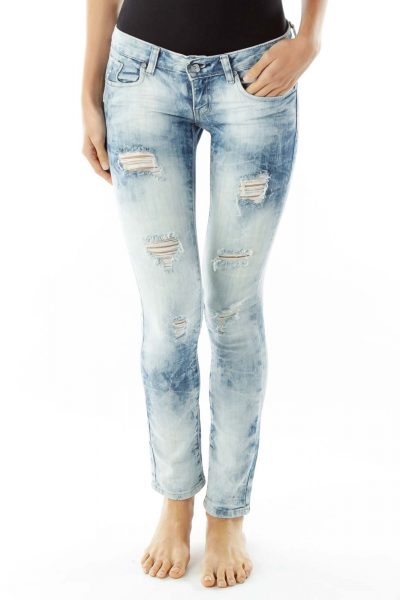 Light Blue Distressed Jeans