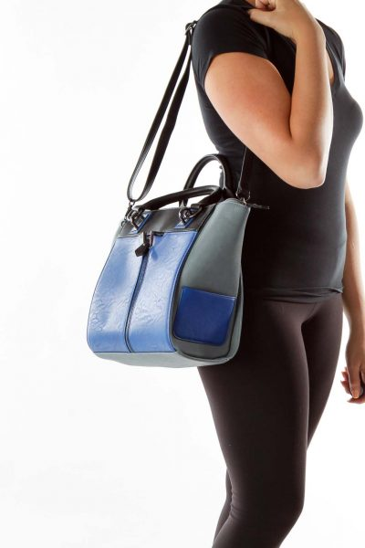 Blue Gray Zippered Satchel