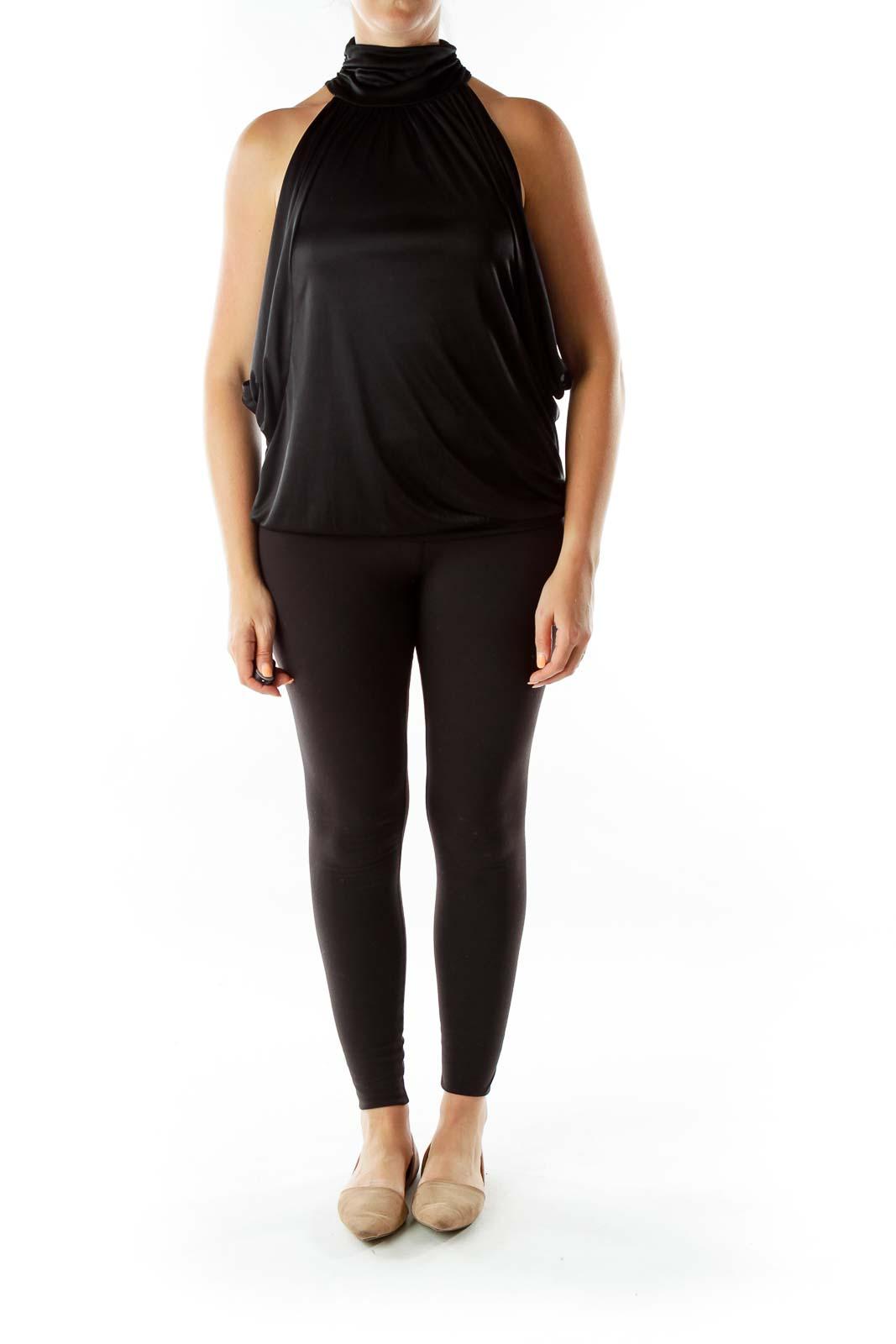 Black Shiny Turtle Neck Bat-Sleeve T-shirt