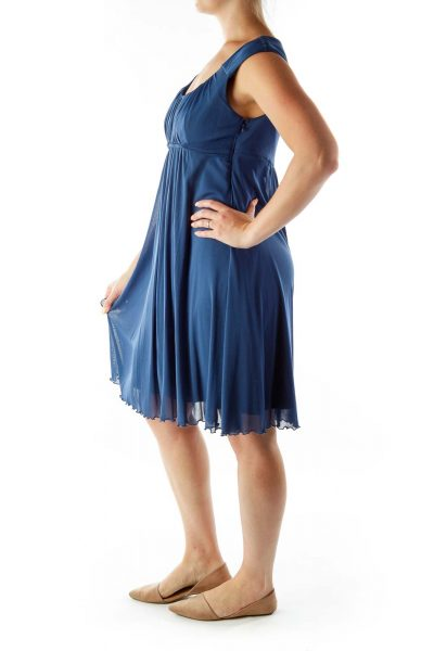 Blue Empire Waist Day Dress