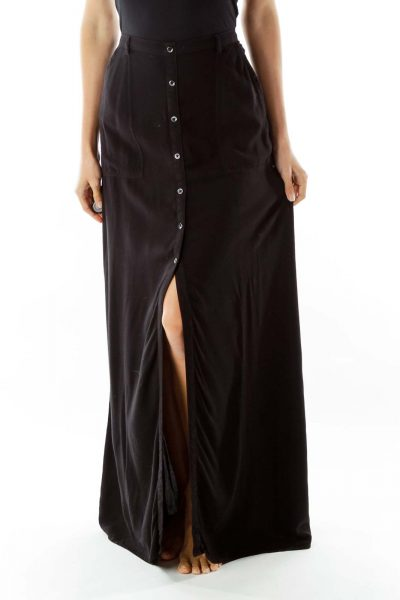 Black Buttoned Maxi Skirt